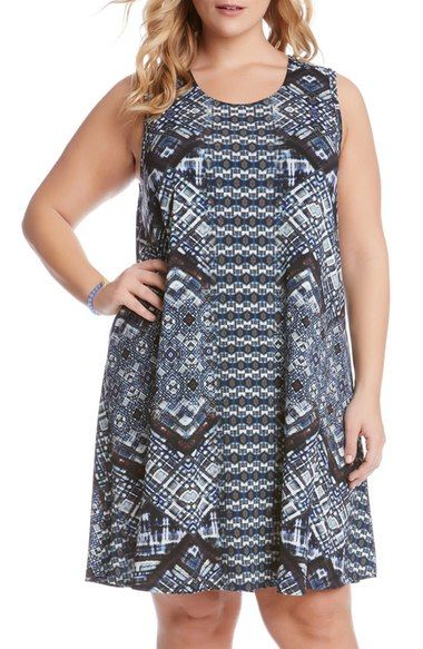 Karen Kane 'Maggie' Geo Print Sleeveless Trapeze Dress (Plus Size) available at #Nordstrom