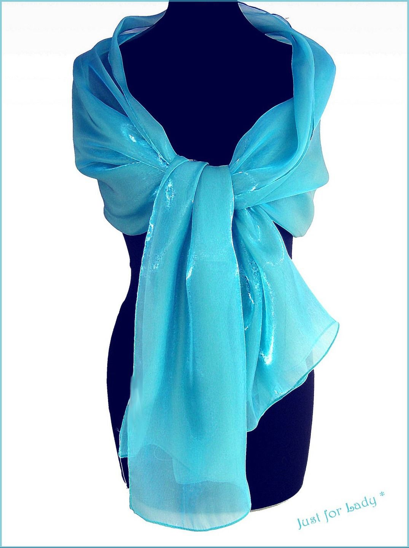 a7b256e08b45 Etole femme - etole mariage - Organza Bleu Turquoise - Cérémonie, mariage,  cocktail