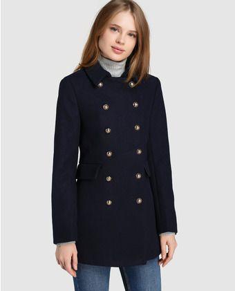 Abrigo de mujer Easy Wear negro de estilo militar  1e24001f417d
