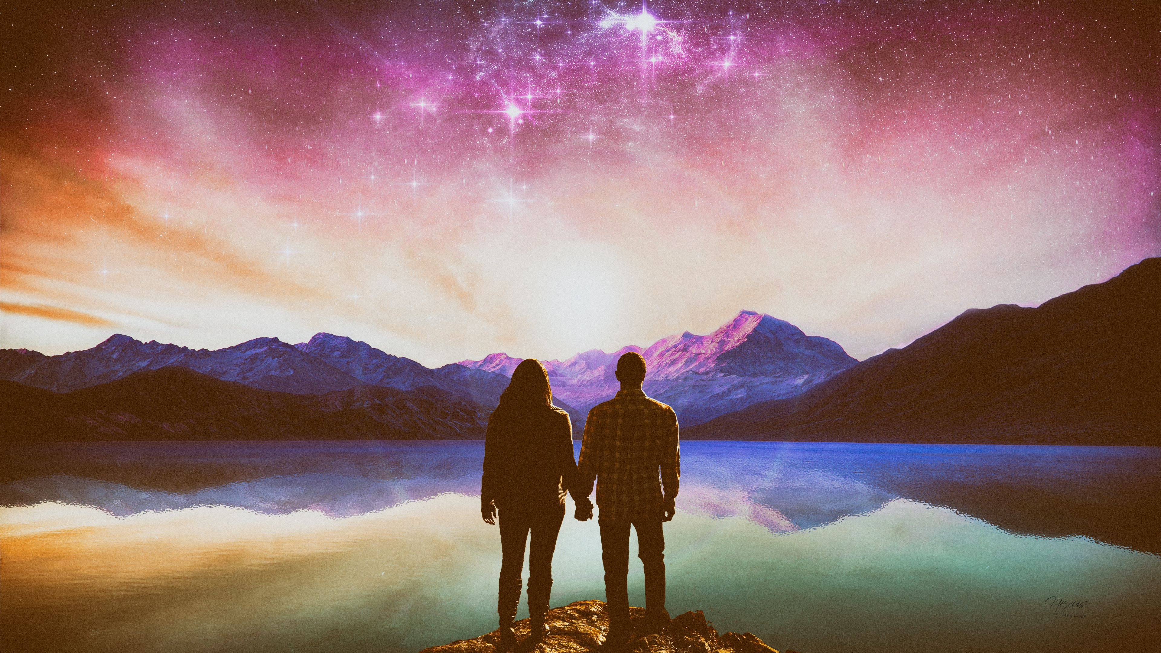 Fantasy Landscape 4k Ultra HD Mountain Couple Love Romance