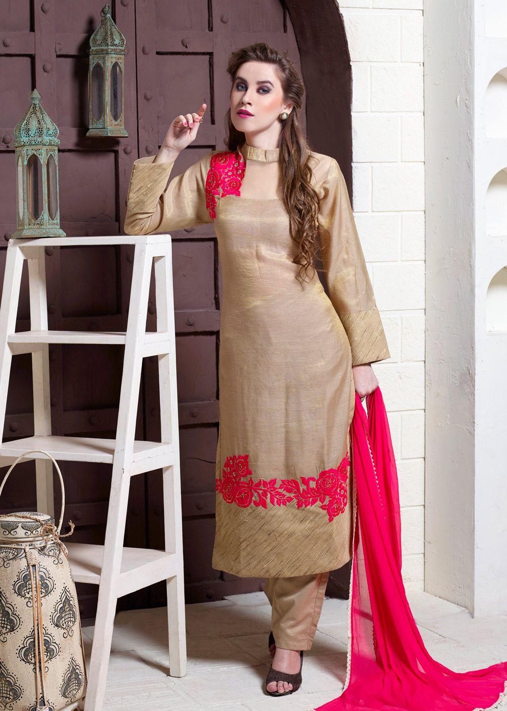 911a2ccb73 Beige Silk Readymade Pakistani Style Suit 70226 | Ready Made Salwar ...