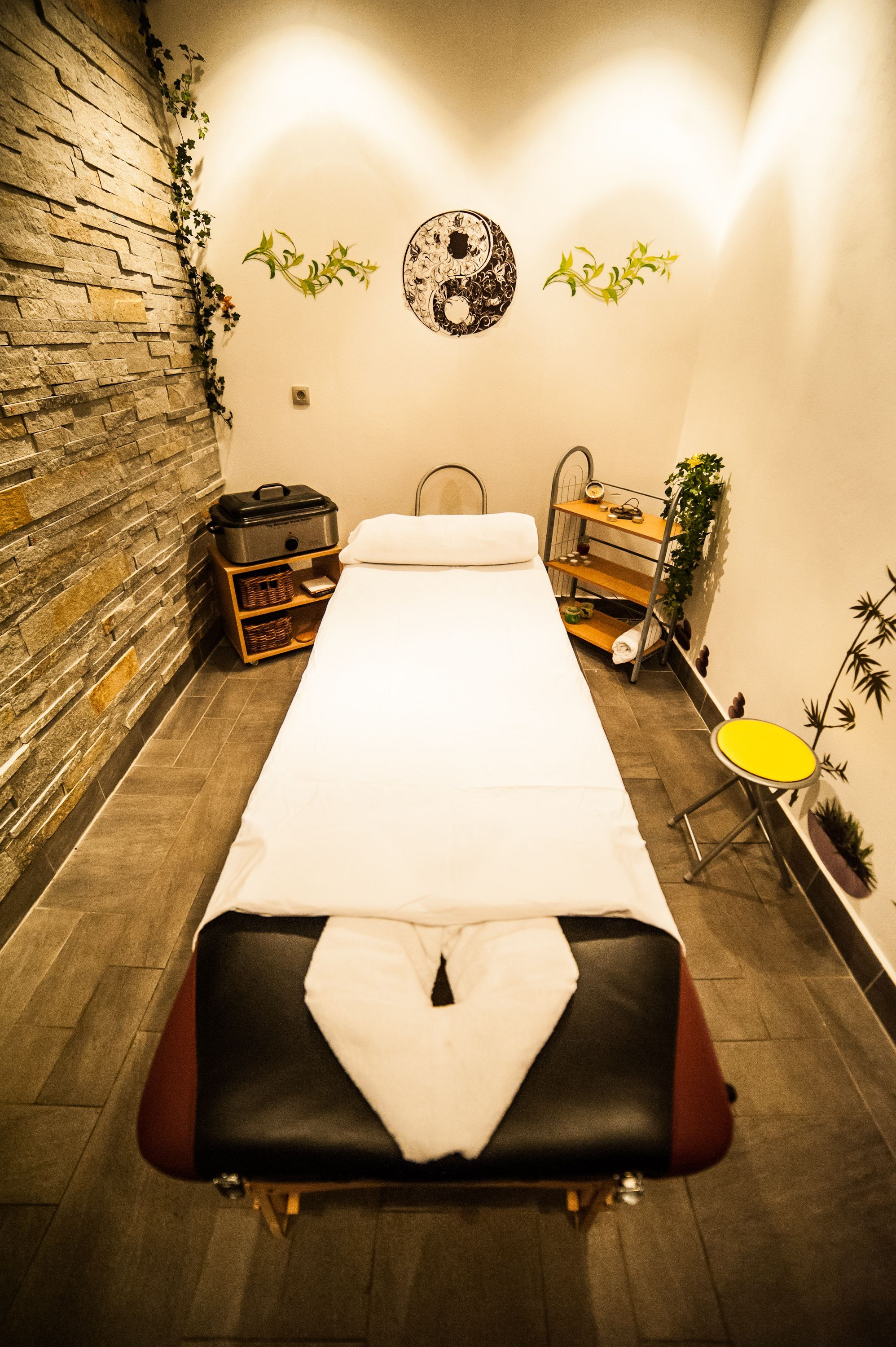 Massage room with rock wall! Come to Fulcher\'s Therapeutic Massage ...