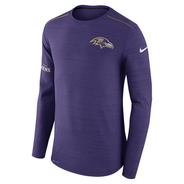0677169bde7 Men s Nike Purple Baltimore Ravens Sideline Player Long Sleeve Performance T -Shirt