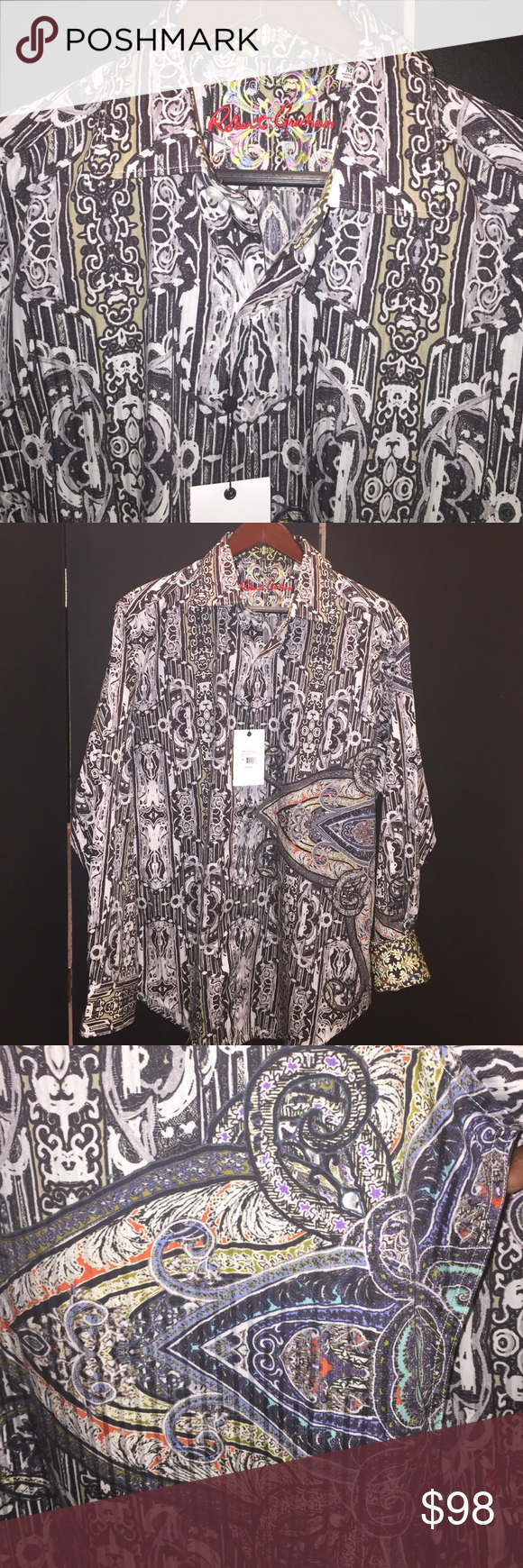 """Robert  Graham """"Knowledge Truth Wisdom"""" Robert Graham """"Knowledge Truth Wisdom' 100% Woven Cotton Multi- color print.  Button down with fold down collar and fold Cuff. Robert Graham Other"""