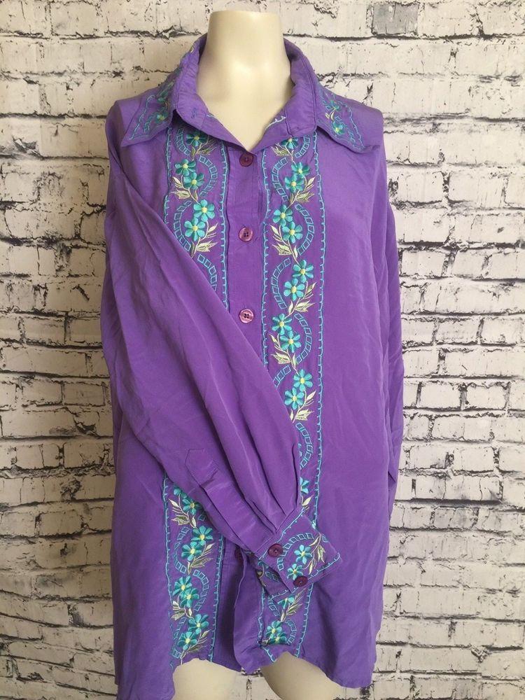 66cca20cc01 Diane Van Furstenberg Plus Size 1X Purple Floral Front Long Sleeve Silk  Blouse  DianevonFurstenberg  Blouse  Casual