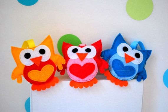 Plush Felt Owl Baby shower felt Owl Ornament by Mariapalito
