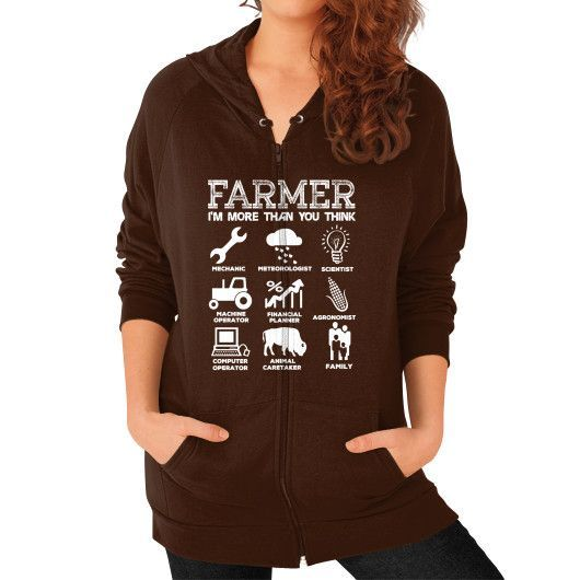 FARMER IM MORE THAN YOU THINK Zip Hoodie (on woman)