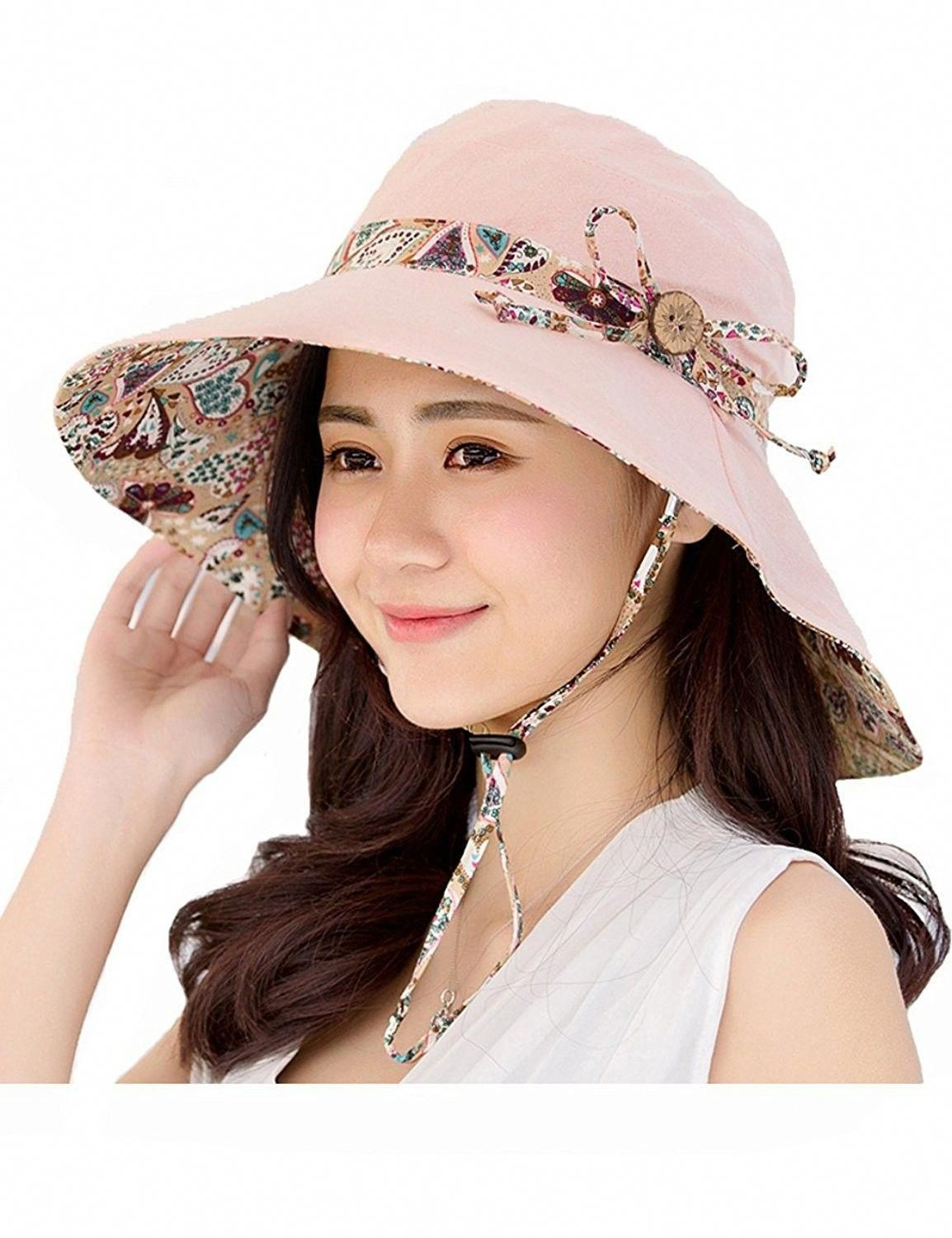 Womens Sun Hat Summer Packable Reversible UV Protection Wide Brim Foldable  Hat - Light Pink - C117YSL56MC - Hats   Caps 5abf2e70d513