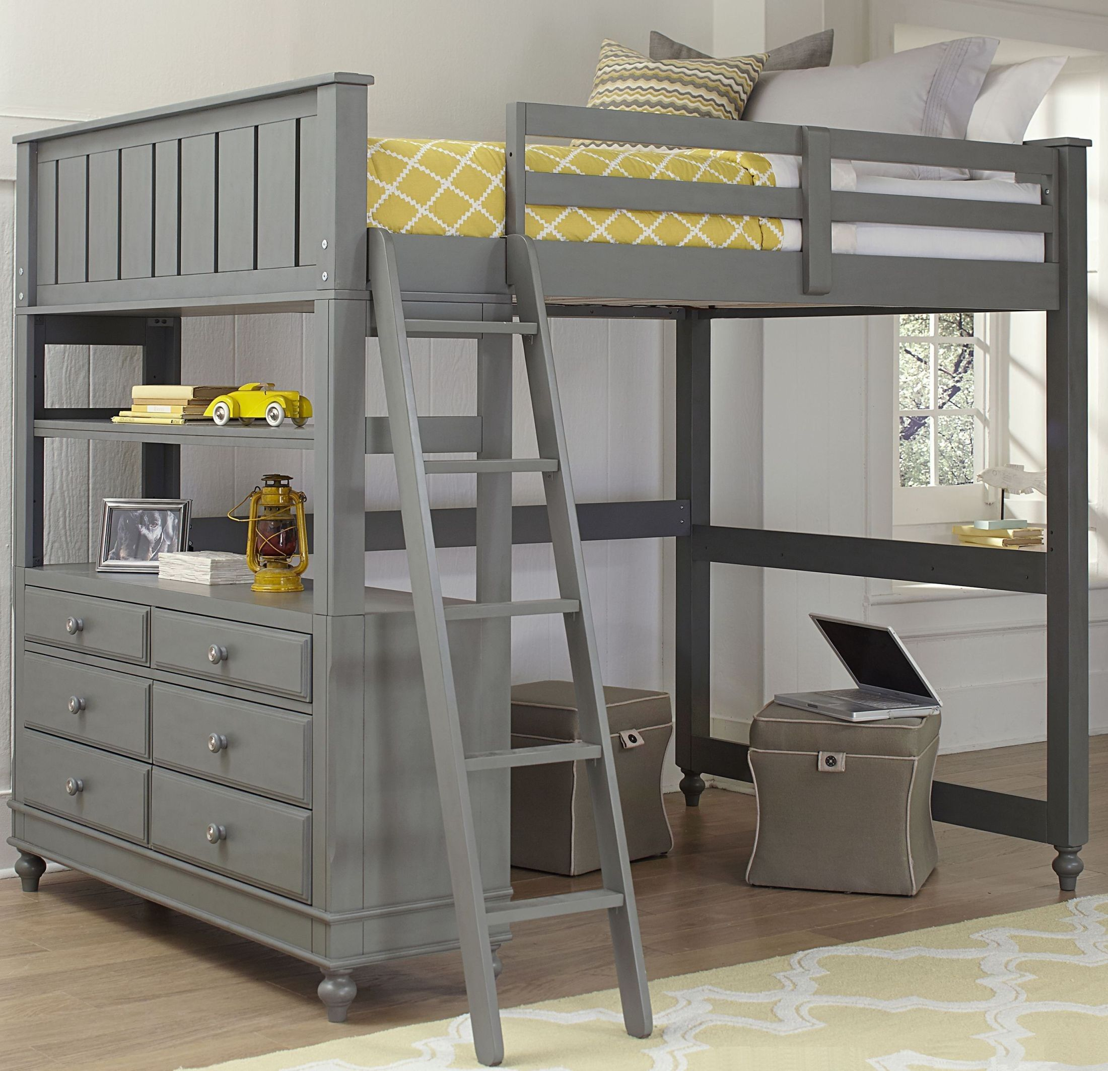 Loft bed with desk dresser  Lake House Stone Full Loft Bed by NE Kids  Buying from Coleman