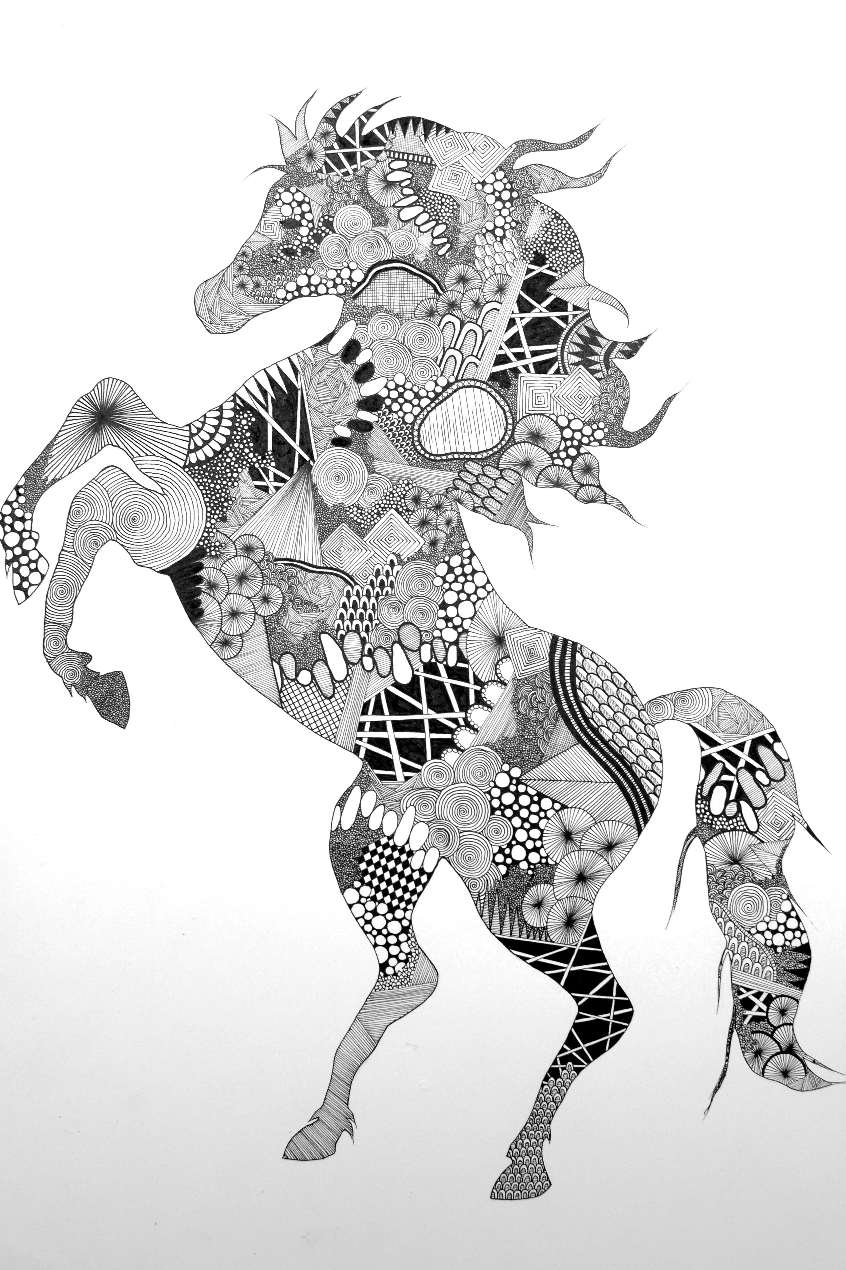 Ausmalbilder Für Erwachsene Pferd : Zentangle Horse By Nikoline Sander Doodle Art Pinterest