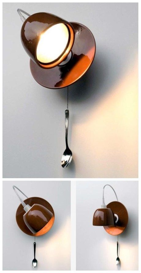 coffee mug wall lamp manualidades pinterest reaproveitar ilumina o e lumin rias. Black Bedroom Furniture Sets. Home Design Ideas