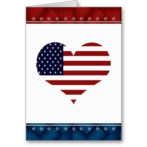 USA Patriotic Heart Blank Note Greeting Card! Wonderful to send a note or a care package to your military friends or family! #Military #Patriotic #USA #Greetingcard