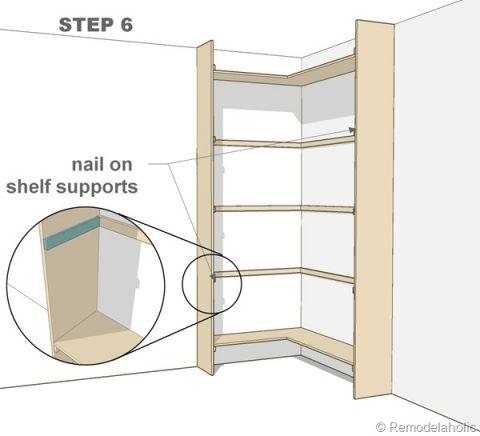 step 6 corner bult in bookshelves mod diy shelving ideas and more pinterest. Black Bedroom Furniture Sets. Home Design Ideas