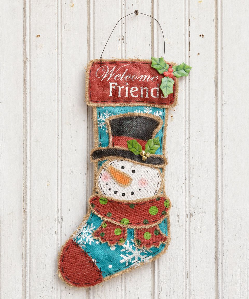 This 'Welcome Friends' Burlap Stocking by Your Heart's Delight is perfect! #zulilyfinds