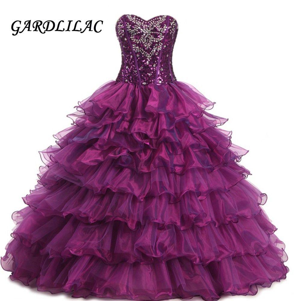 new sweetheart purple quinceanera dresses organza sweet