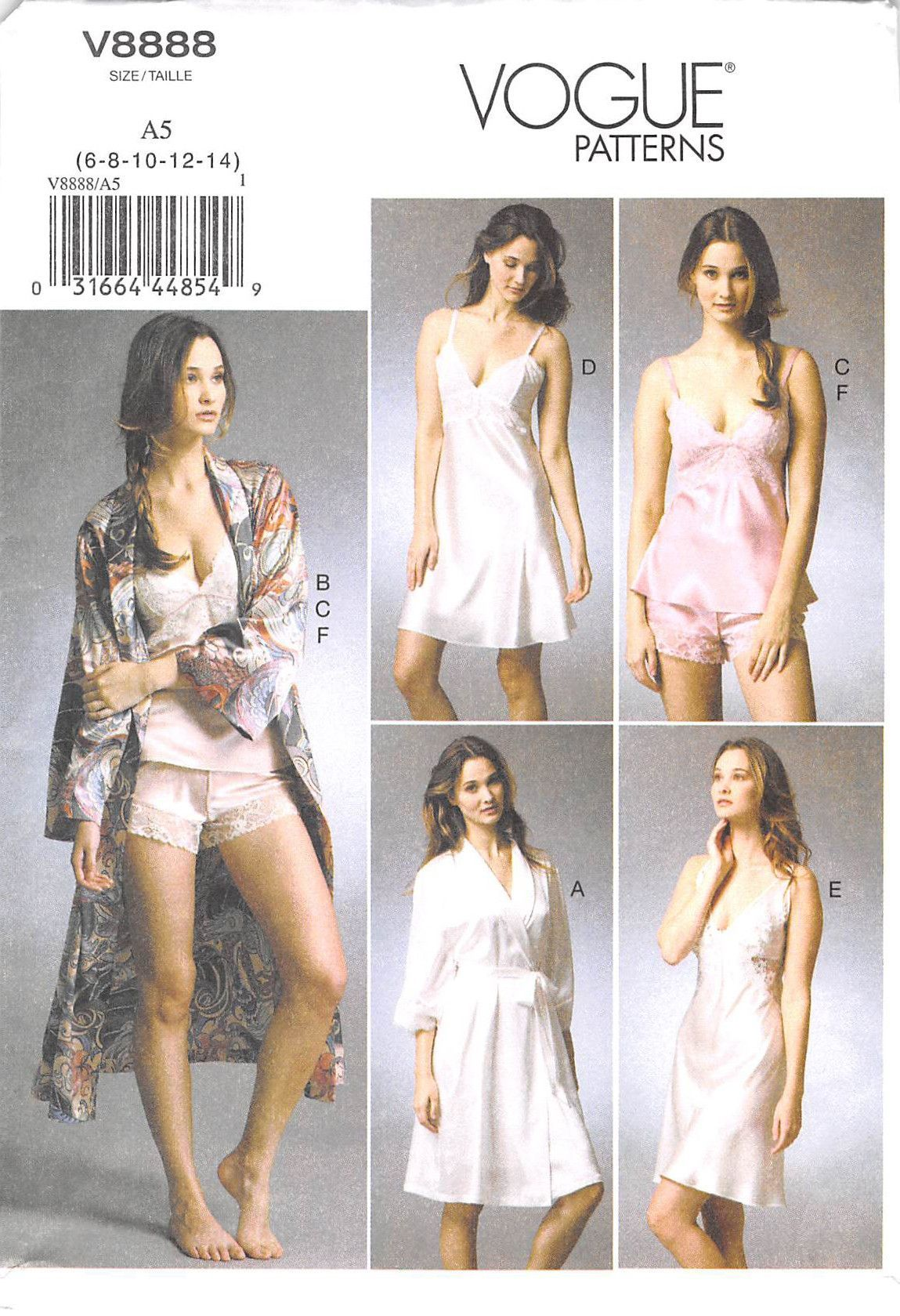 Size A5 VOGUE PATTERNS V8888 Misses Robe//Slip//Camisole and Panties Sewing Template 6-8-10-12-14