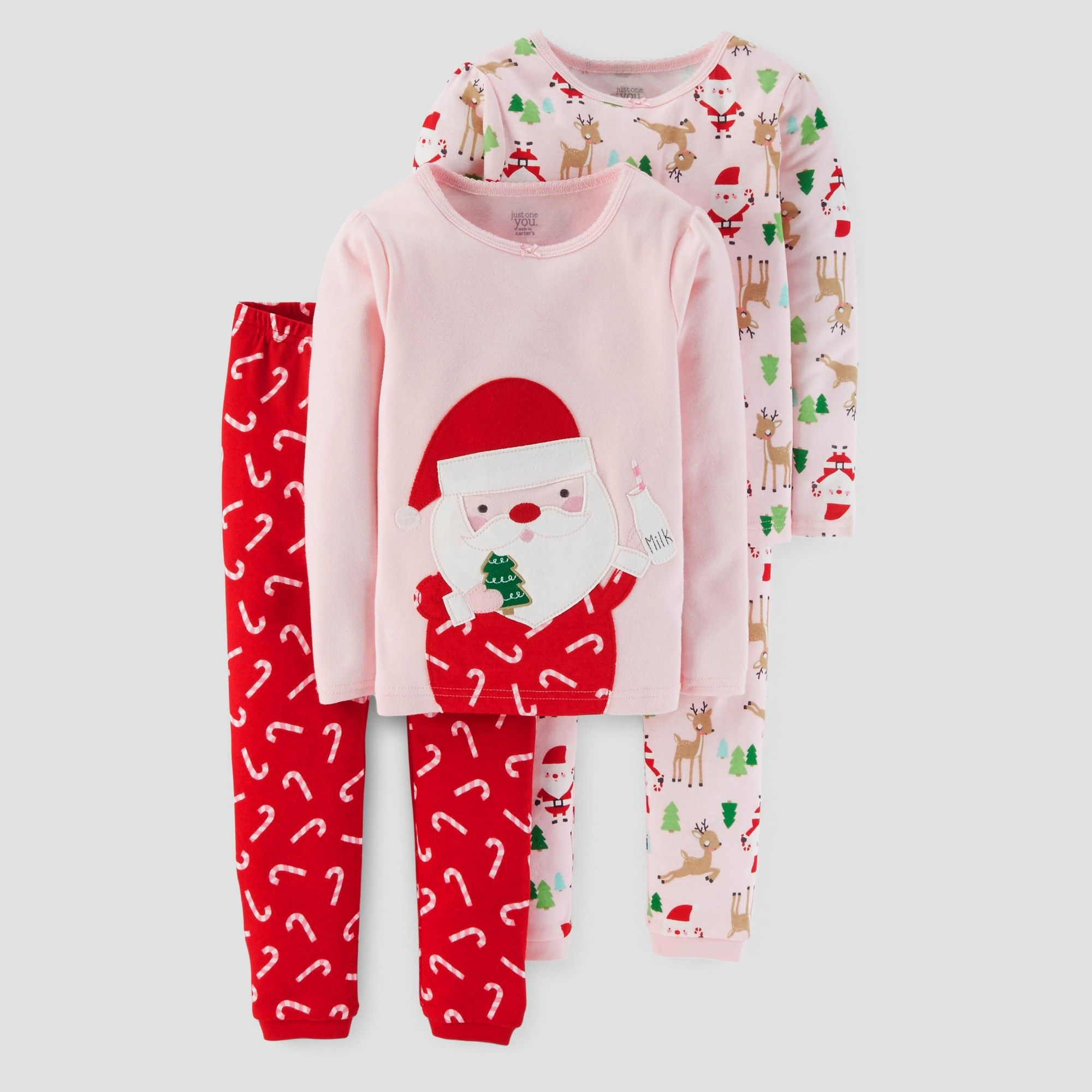 f75db3b619 Toddler Girls  4pc Long Sleeve Santa Pajama Set - Just One You Made by  Carter s Pink 5T
