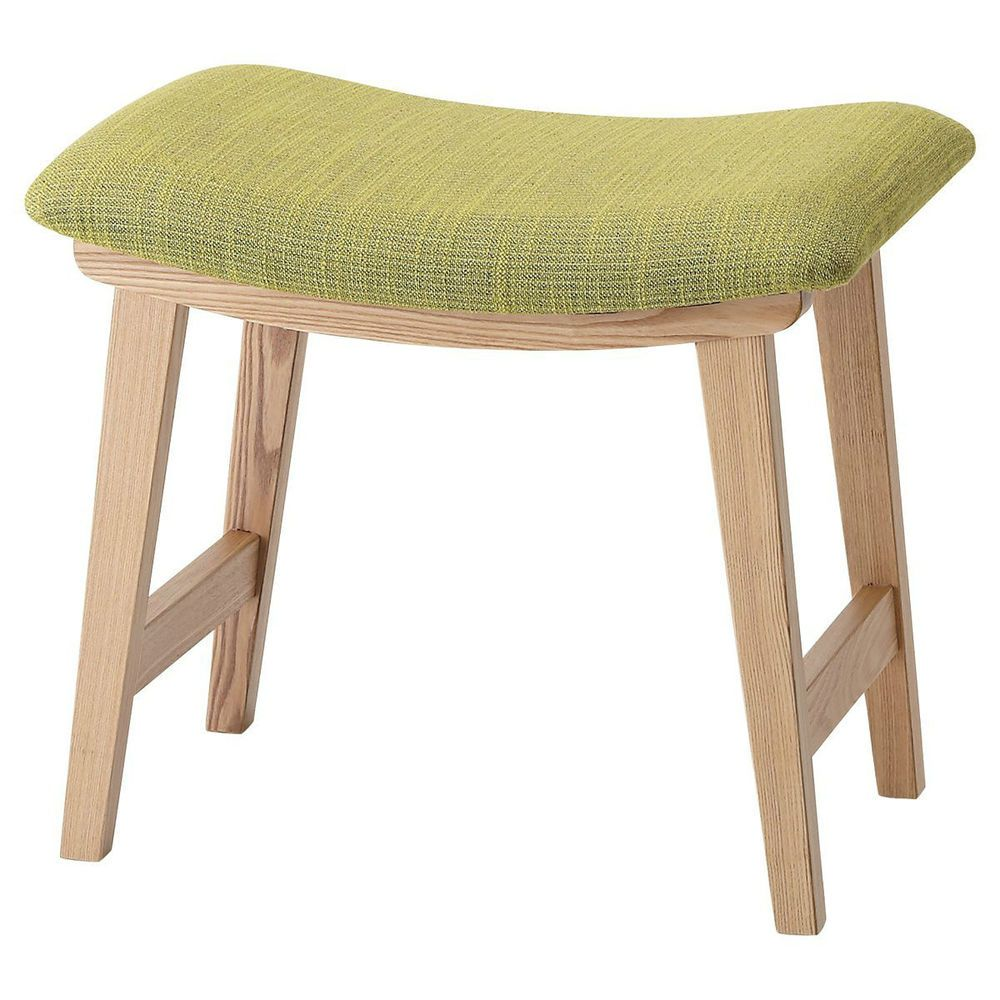 Wooden Stool Green Fabric Seat Vanity Low Chair Cushioned
