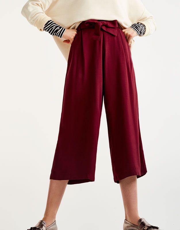 Pull Bear - mujer - ropa - ropa - pantalones - pantalón culotte cinturón  lazo - burgundy - 09681215-I2017 603c616bbcfe