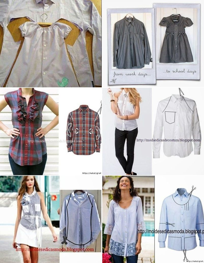 repurpose or restyle men\'s shirts into something new such as tops ...
