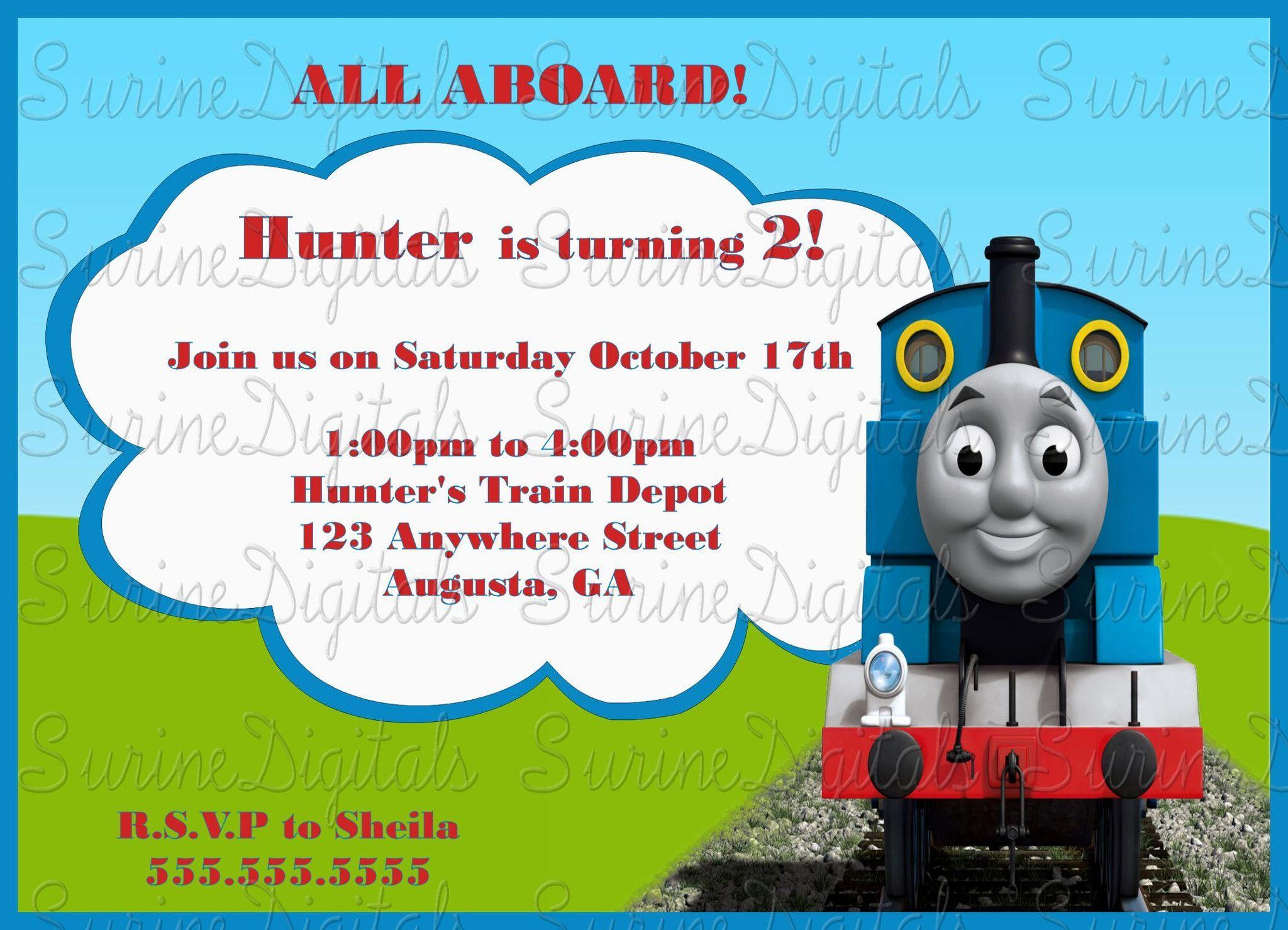 Thomas The train Child\'s TV Show Themed Birthday Party Invitation ...