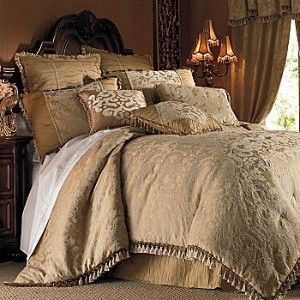 JC PENNEY CHRIS MADDEN GOLD DAMASK 9PC KING COMFORTER BEDDING SET ...