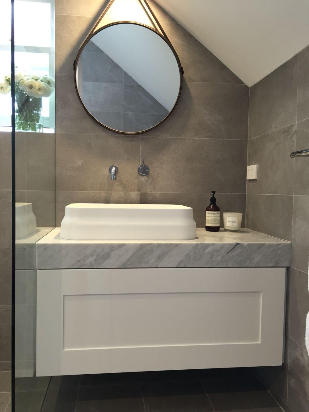 Ensuite Bathroom Grey And White Carrara Marble Vanity Omvivo Basin Omvivo Spout Round