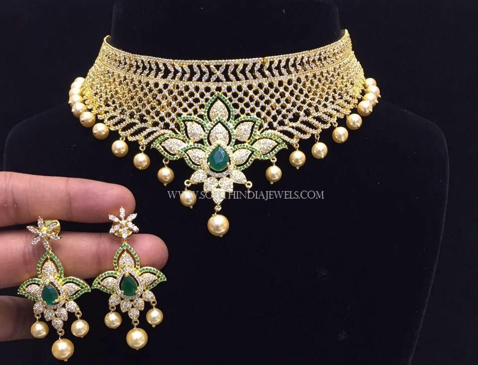 76ad340a75812 Gold Plated Choker Set With Green Stones | Choker Necklace Designs ...