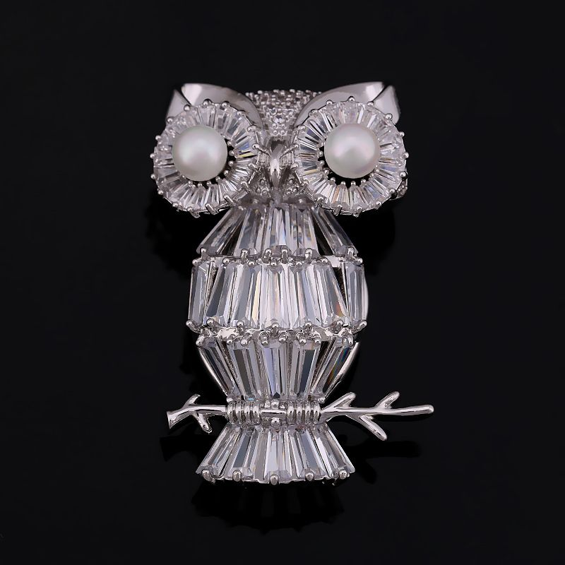 High Quality White Gold Color Plated Cubic Zirconia Crystal Owl Brooch Pins For Women