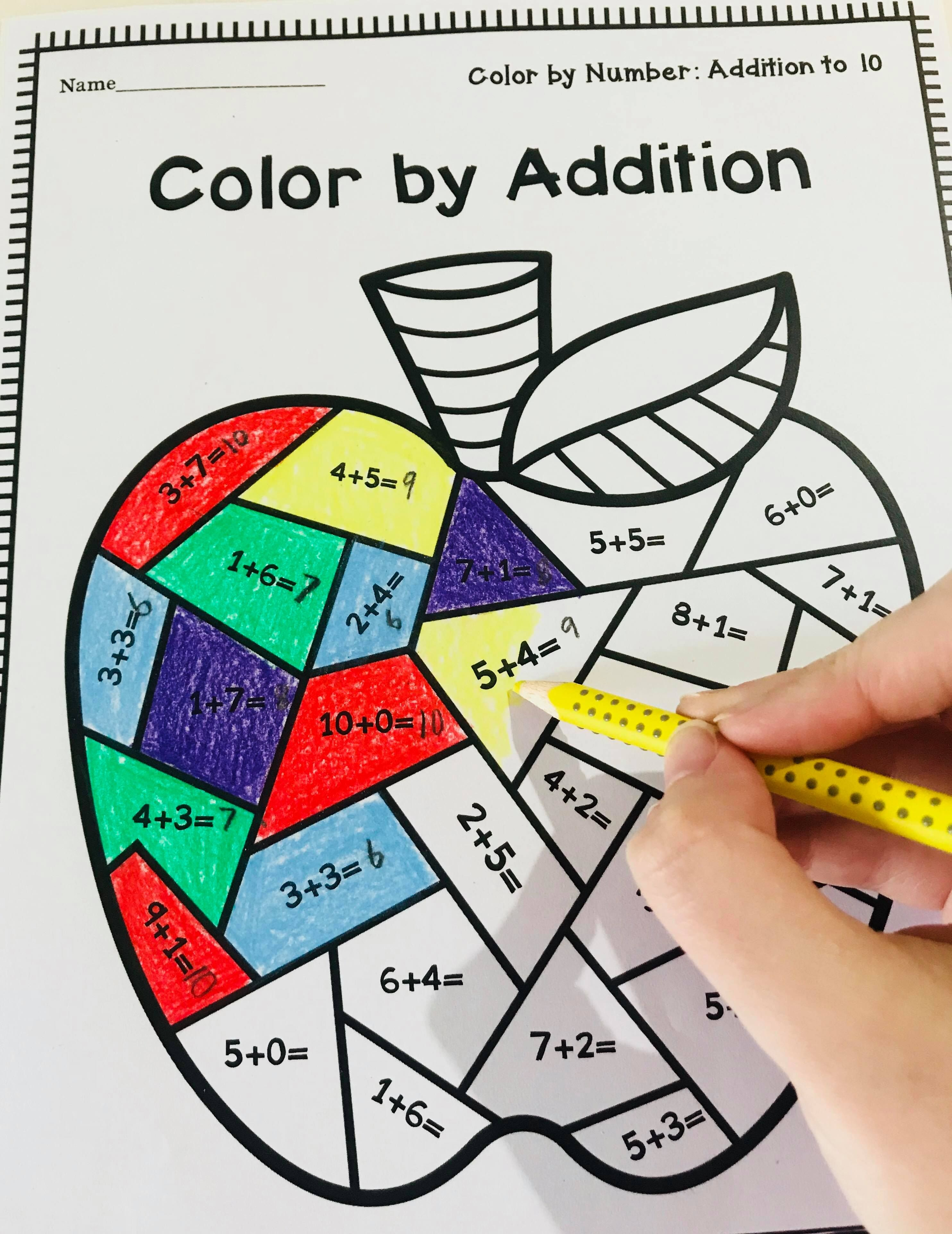 Back To School Color By Addition Worksheets