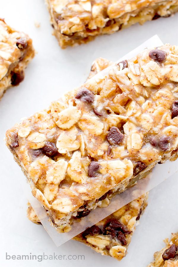 No Bake Chewy Chocolate Chip Granola Bars V Gf The Perfect