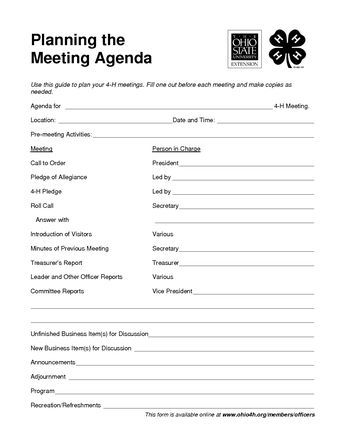 4 h meeting agenda template - Google Search the 4-H Club Pinterest - management meeting agenda template