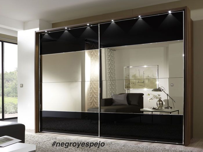 Armario en HPL negro y espejo | Muebles | Pinterest | Armario, Negro ...