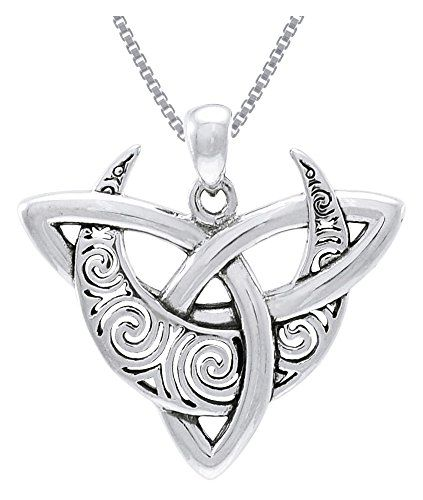Cgc sterling silver celtic triquetra moon trinity knot pendant on cgc sterling silver celtic triquetra moon trinity knot pendant on 18 box chain necklace carolina mozeypictures Image collections