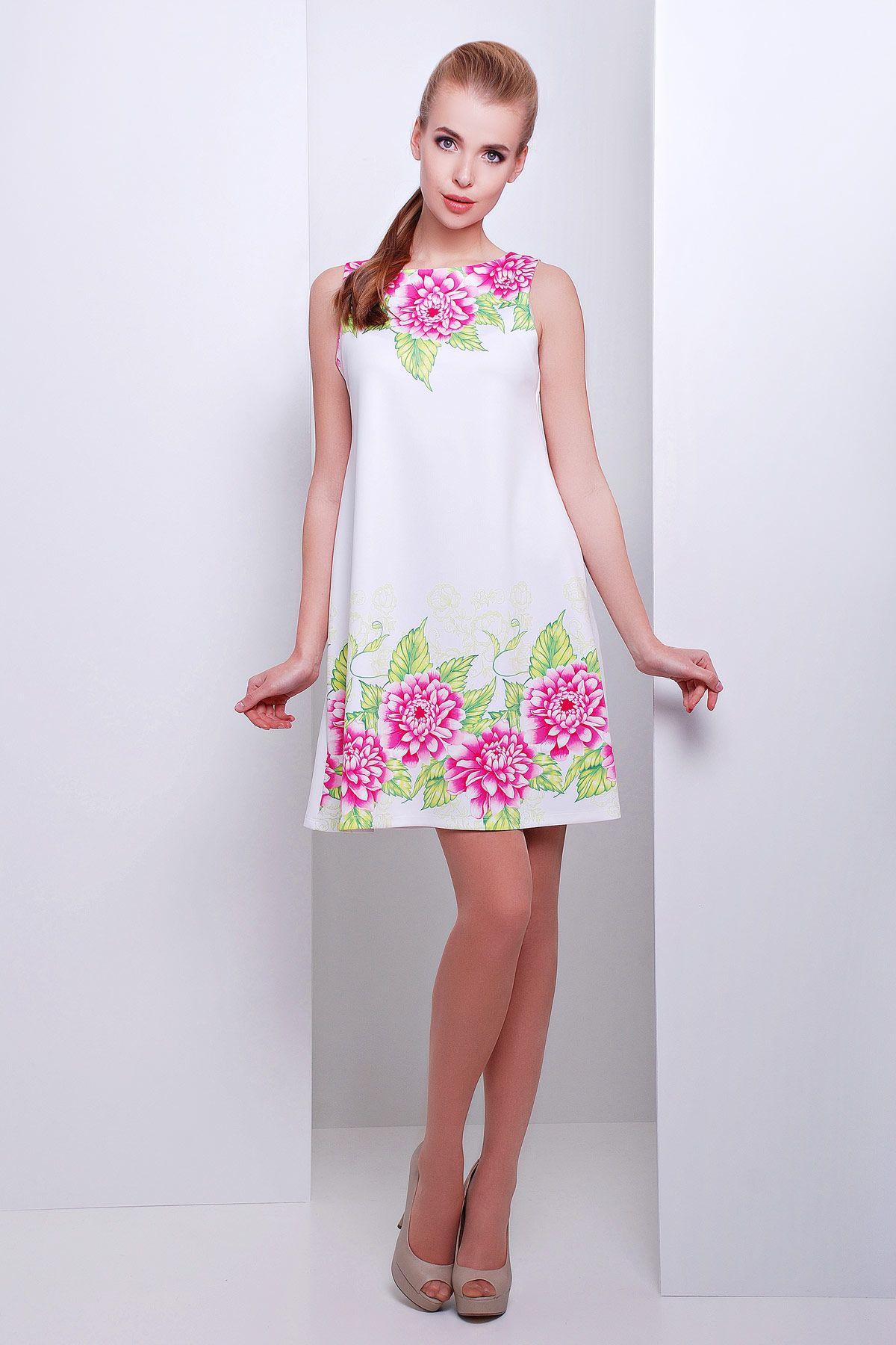 Белое платье-трапеция на сезон весна-лето без рукавов с цветочным принтом.  Пионы efeb0b6d65f