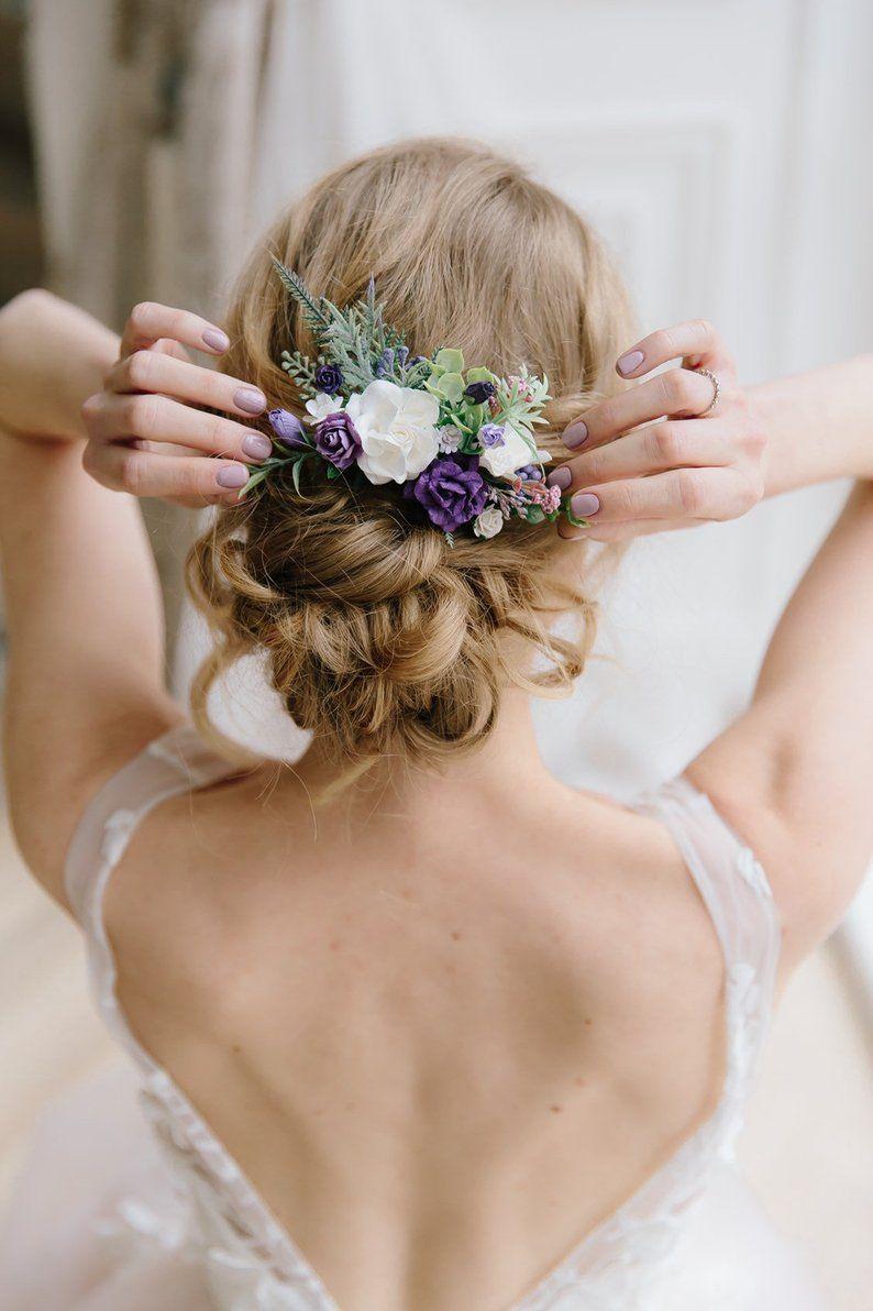 flower hair comb, purple plum flower hair comb, wedding hair