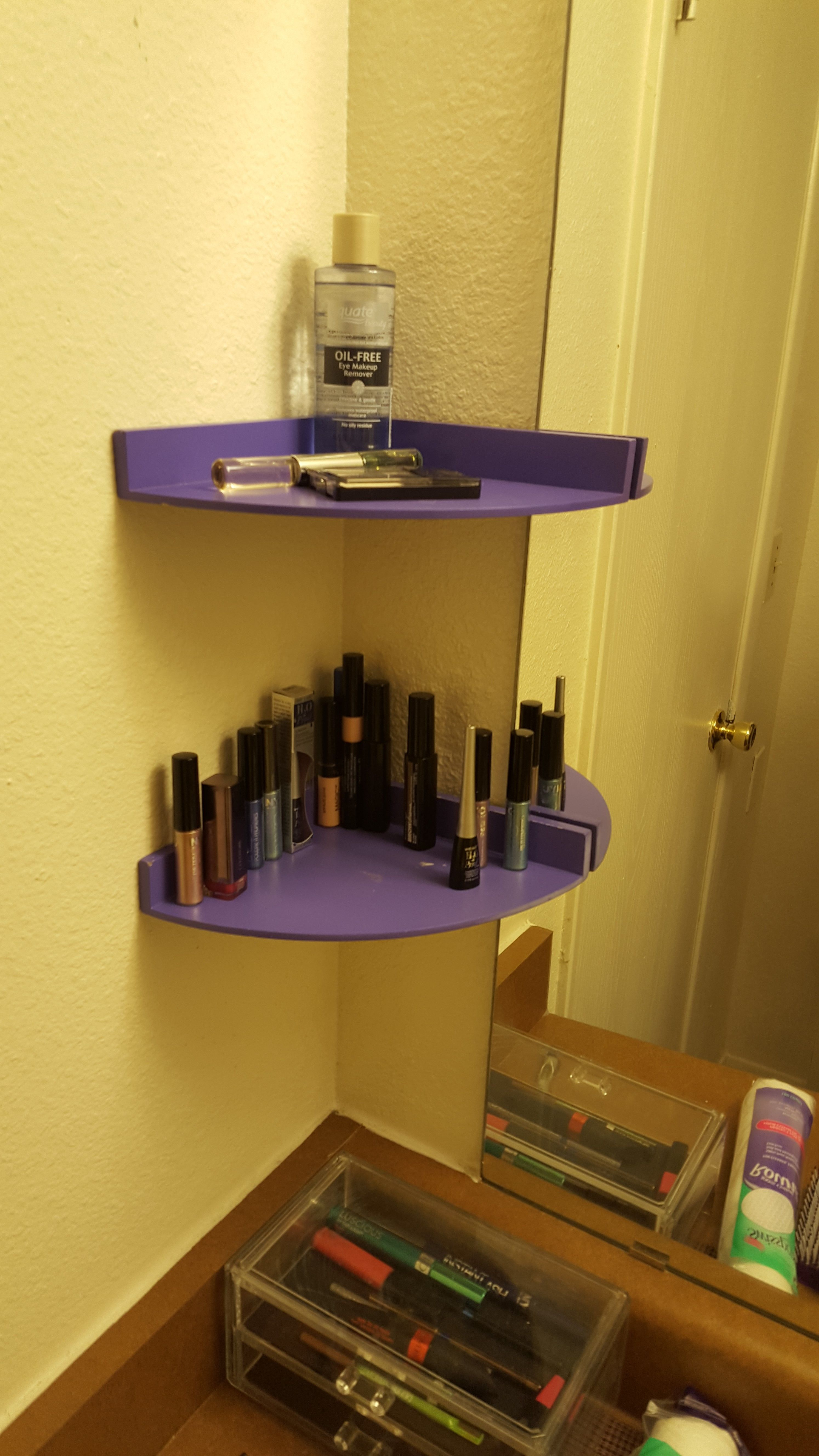 Using Command Strips These Shelves Do Their Job Of Holding Some A S Most Prized Procession Makeup