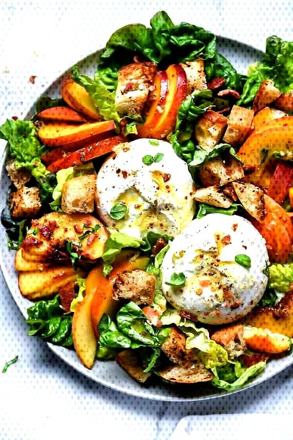 Peach Panzanella Salad with Burrata and Bacon   Peach Panzanella Salad with Burrata and Bacon   Pea