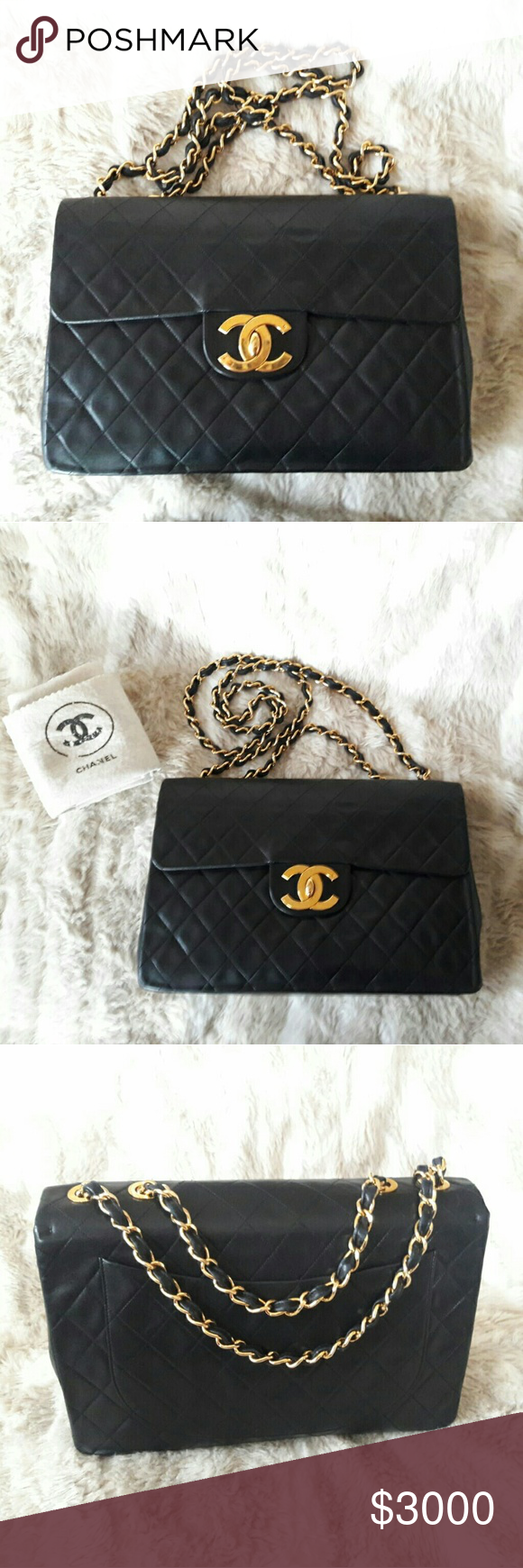 0cc0368cf76d Chanel Vintage XL Jumbo Flap Bag quilted Lambskin 100% Authentic Very Good  Vintage condition Lambskin