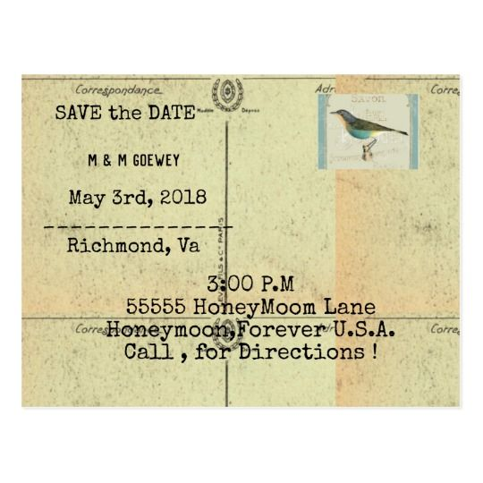 WeddingInvitationVintageBirdTemplate Postcard  Bird Template