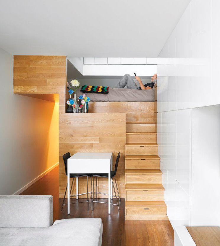 Kleine Wohnung Einrichten Mit Hochbett Und Treppe Aus Holz_coole  Einrichtungsbeispiele Und Wohnideen Kleiner Zimmer