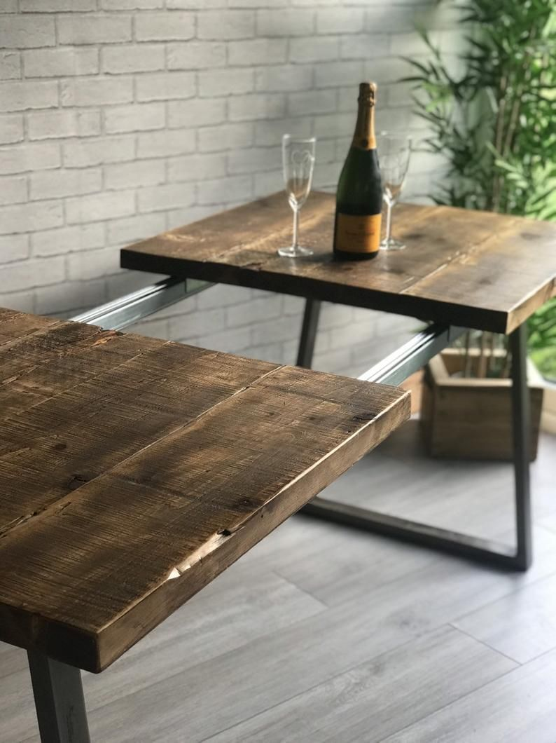 Extending Industrial Dining Table With Trapezium Legs Industrial
