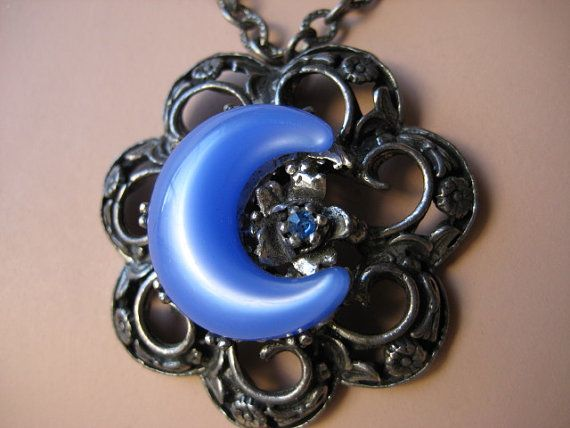 Pewter Moonglow Pendant Flower and Crescent in by VintageRenude
