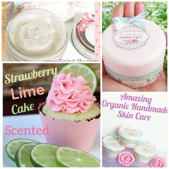 Body Butter Strawberry Lime Cake Scent Hand Cream Foot Cream Massage Oil Organic Vegan