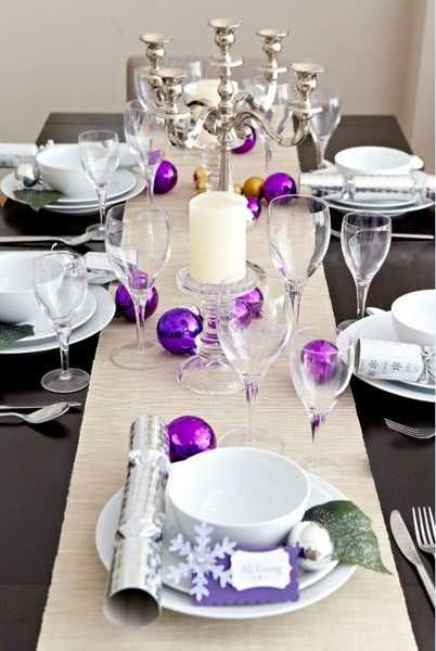 Colorful Christmas Table Decor Ideas 25 Bright Holiday Table Decorations And Centerpieces Purple Christmas Decorations Holiday Table Decorations Christmas Party Table