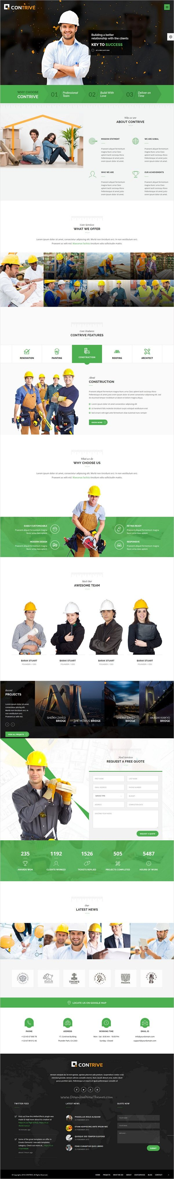 Contrive Building Construction Html5 Template Joomla Themes Wordpress Theme Responsive Web Layout Design