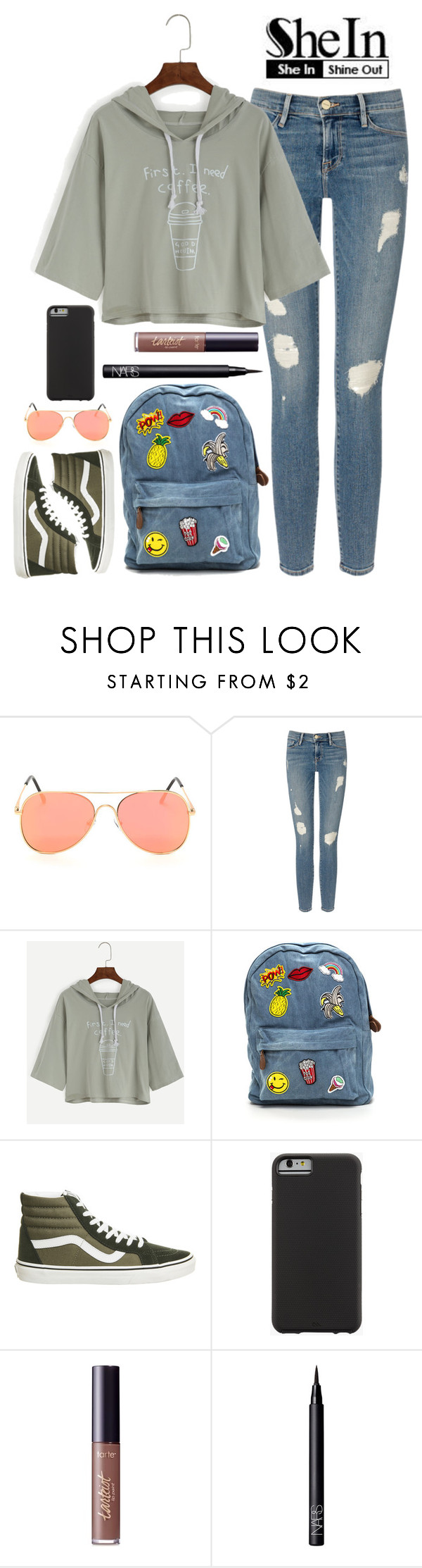 """olive olive"" by blissfulchapters ❤ liked on Polyvore featuring Frame Denim, Vans, Case-Mate, tarte and NARS Cosmetics"