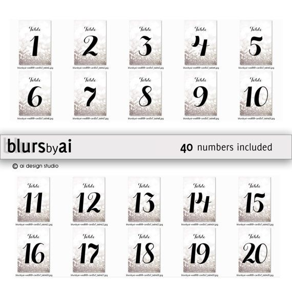 4x6 Printable silver table numbers 1-40 wedding table