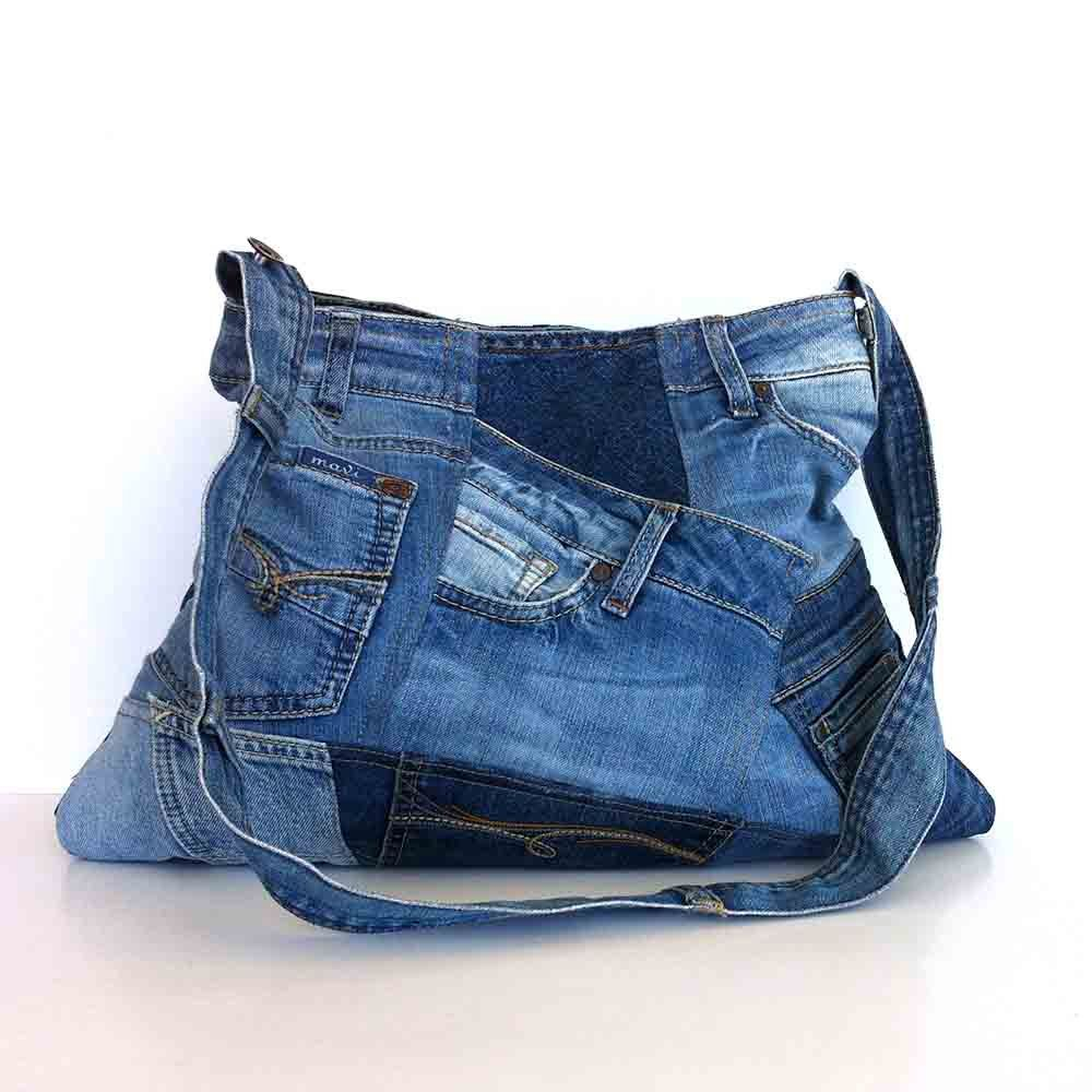 Shoulder purse recycled denim bag upcycled jean от Sisoibags