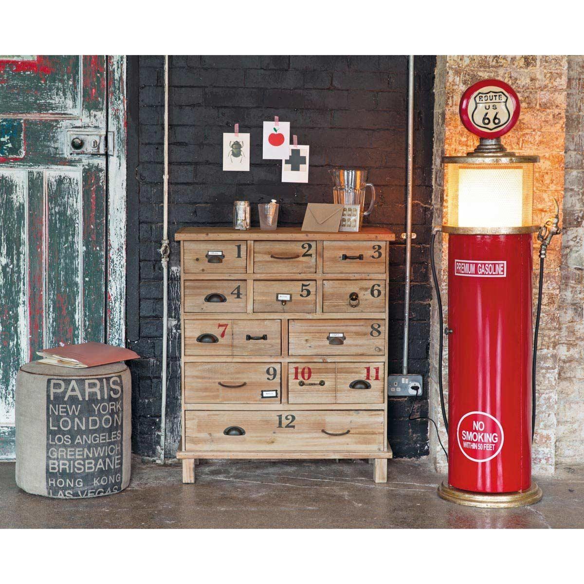 Lampe range CD en métal et bois rouge H 52 cm | Maisons du Monde